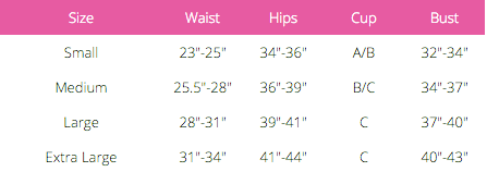 Size Chart from Foxy Lingerie
