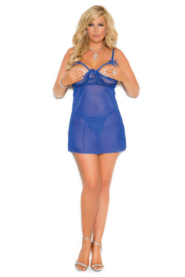 Plus Size Cupless Mesh Babydoll