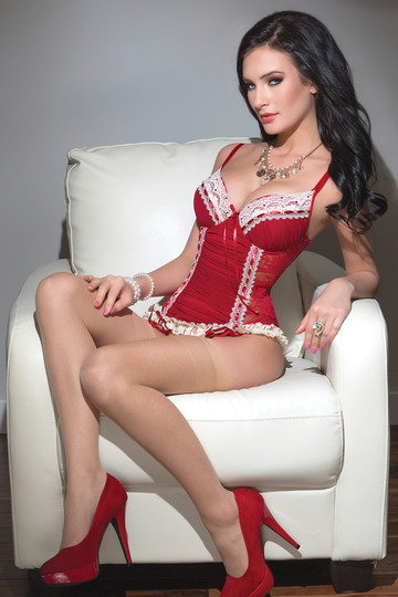 Gathered Mesh Lace Bustier