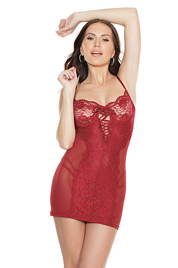 Merlot Lace Up Front Teddy