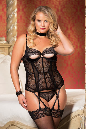 Beautiful Stretch Lace Peek-a-Boo Plus Size Bustier