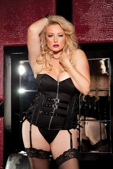 Stretch Twill & Patent Leather Strapless Corset