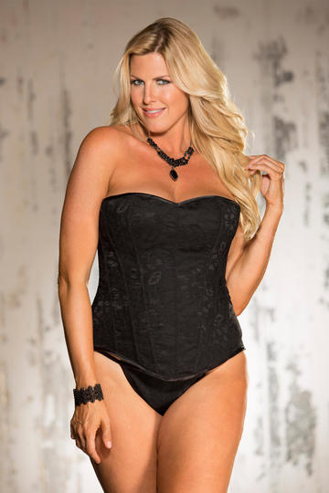 Satin & Lace Overlay Plus Size Corset