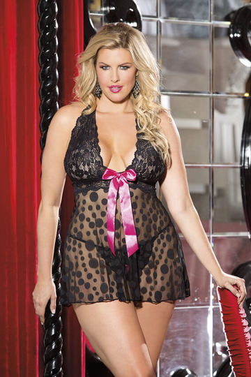 Large Polka Dot Net Plus Size Babydoll by Shirley of Hollywood
