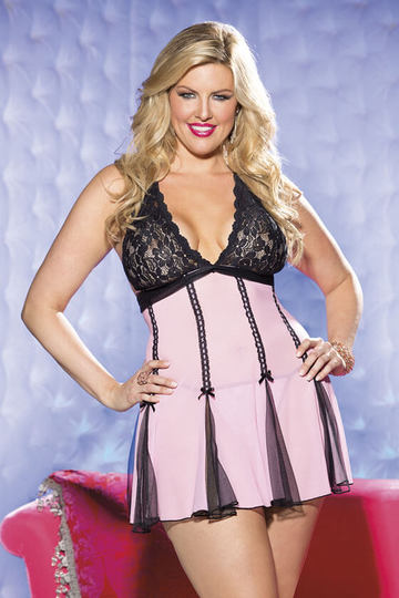 Stretch Lace & Net Plus Size Babydoll
