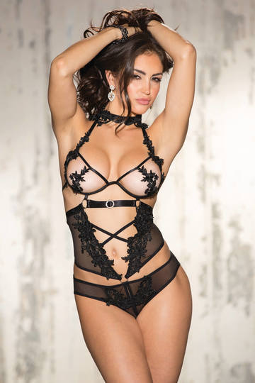 Exotic Venice & Mesh Open Front Teddy