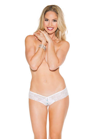 Stretch Lace & Knit Open Front Thong Panty