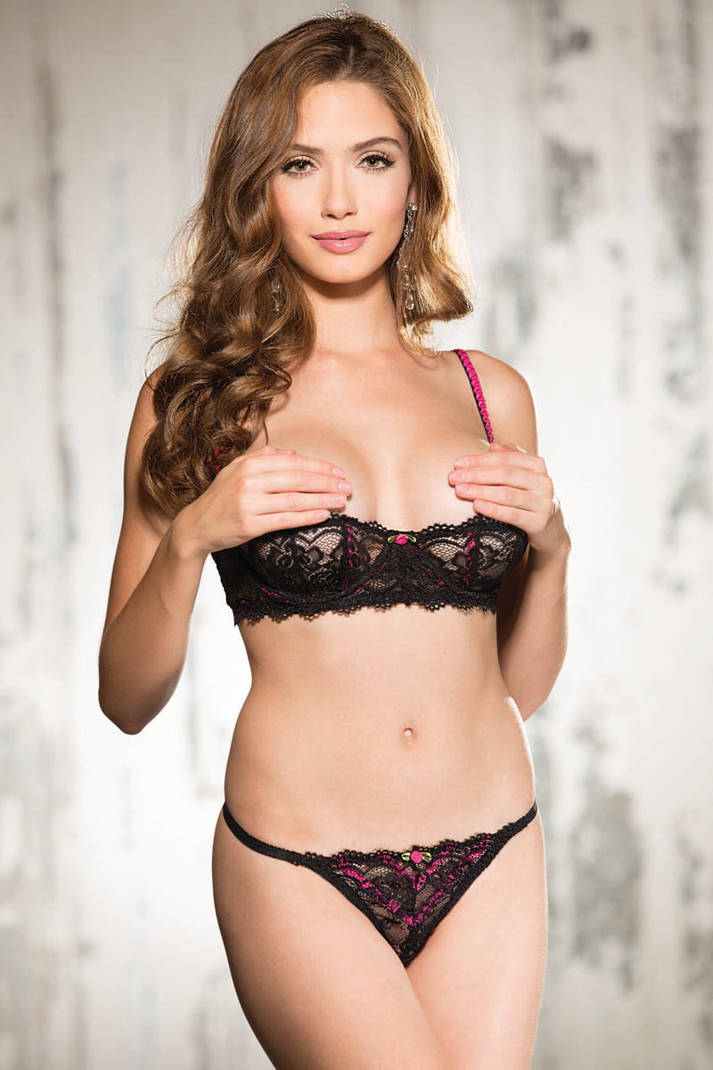 Stretch Lace & Contrast Shelf Bra Set
