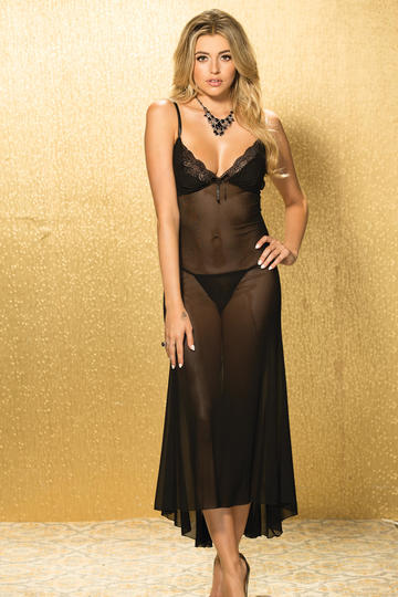 Fan Stretch Lace & Stretch Mesh Long Gown