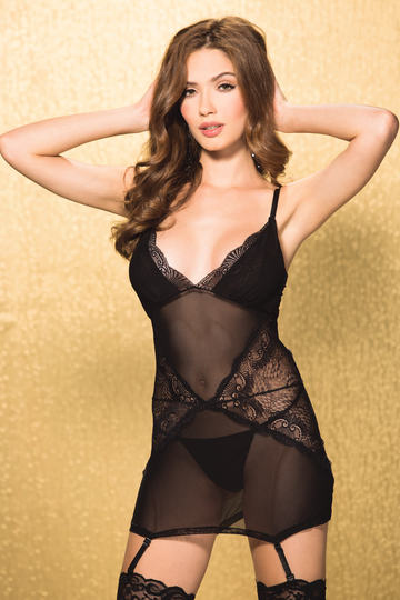 Fan Shaped Stretch Lace & Mesh Gartered Chemise