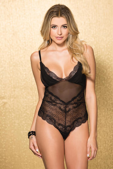 Stretch Lace & Mesh Teddy