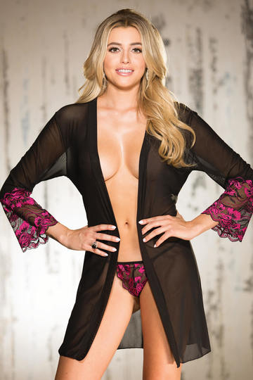 Two Tone Stretch Lace & Mesh Robe