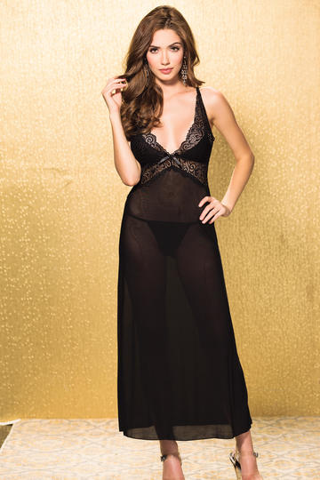 Fabulous Textronic Stretch Lace & Mesh Long Gown