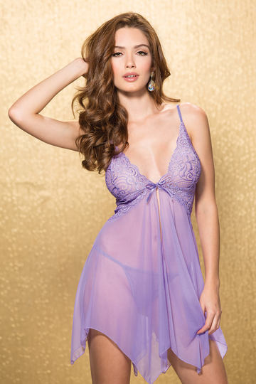 Textronic Stretch Lace & Mesh Fly Away Babydoll