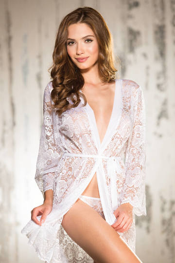Beautiful Stretch Lace Long Sleeve Robe