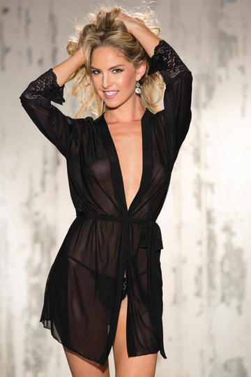 Stretch Mesh & Mesh Long Sleeve Robe