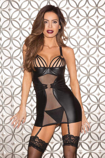 Wild Stretch Chire & Mesh Gartered Chemise by Shirley of Hollywood