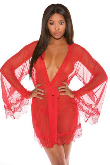 Soft Stretch Mesh & Eyelash Lace Robe