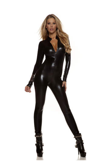 Metallic Zipfront Mock Neck Catsuit