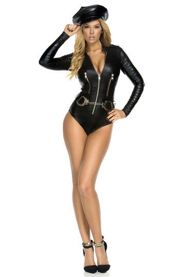 Sexy Motorcycle Bodysuit Costume With Metal Zipper