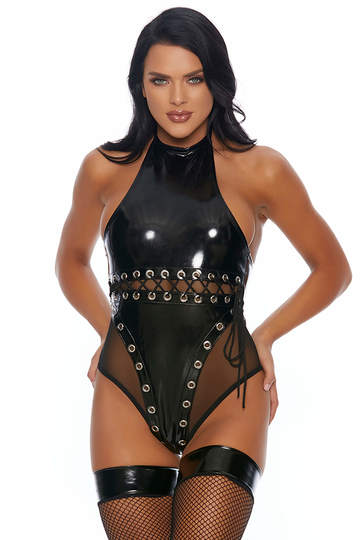 Dark Dreams High Collar Vinyl Bodysuit