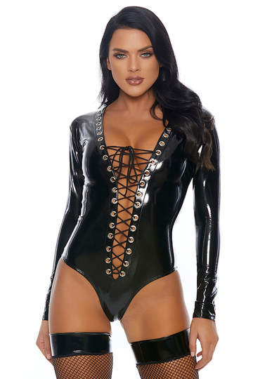 Dark Desires Plunging Lace Up Bodysuit