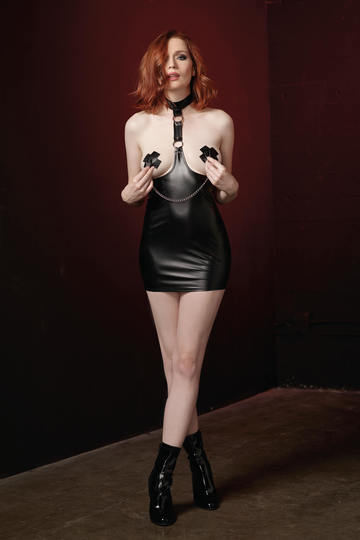 Dominatrix Open Cup Faux Leather Chemise