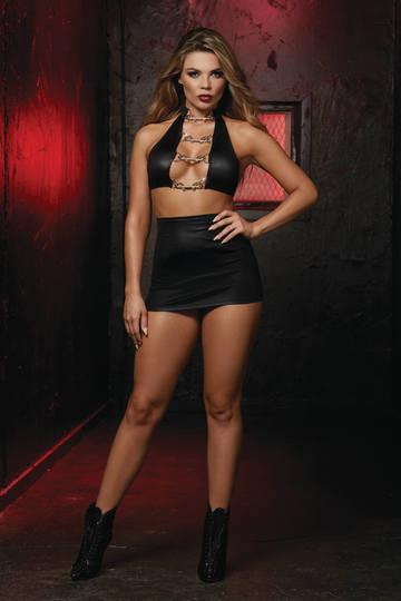 Fetish Crop Top & Hi-Waisted Skirt Set