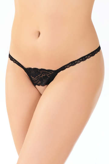 Scallop Lace Crotchless G-String Panty