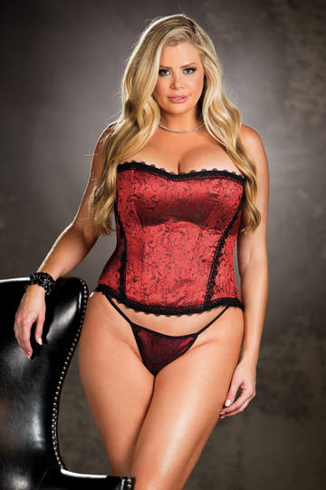 Tapestry & Venice Trim Strapless Plus Size Corset Top