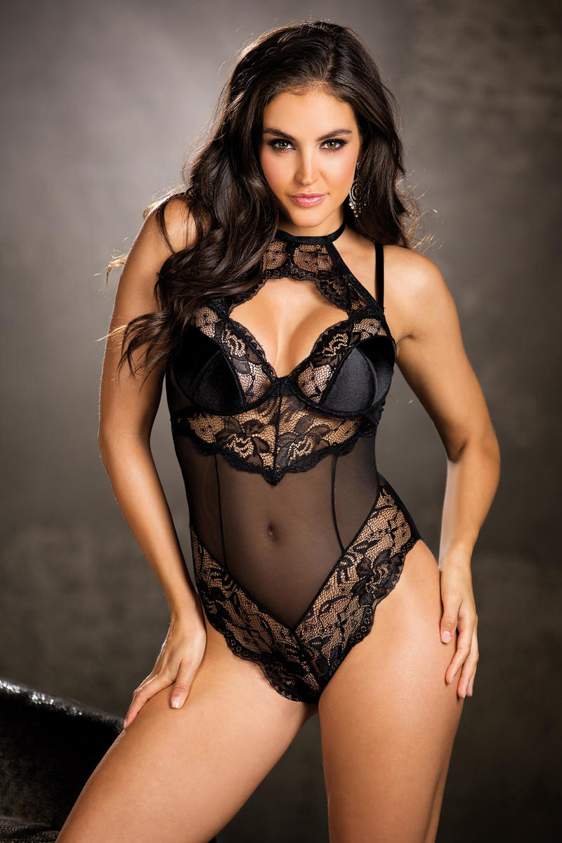 Stretch Lace And Mesh Teddy