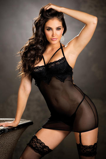 Tantalizing Stretch Lace & Mesh Gartered Chemise