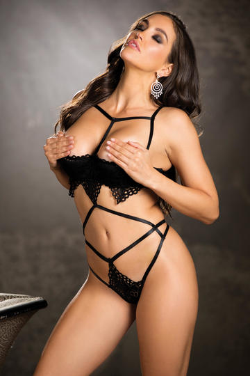 Tantalizing Stretch Lace & Strappy Elastic Teddy