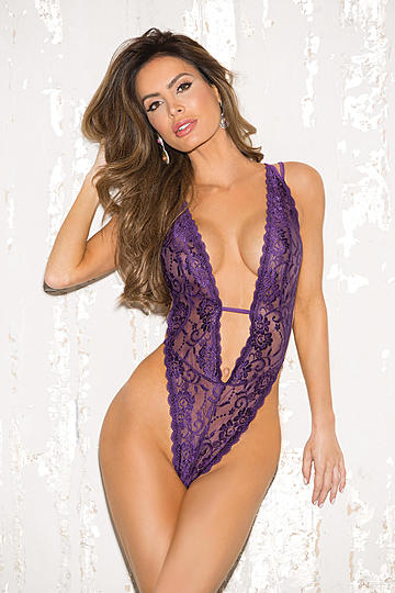 Stretch Lace Deep Plunge Teddy