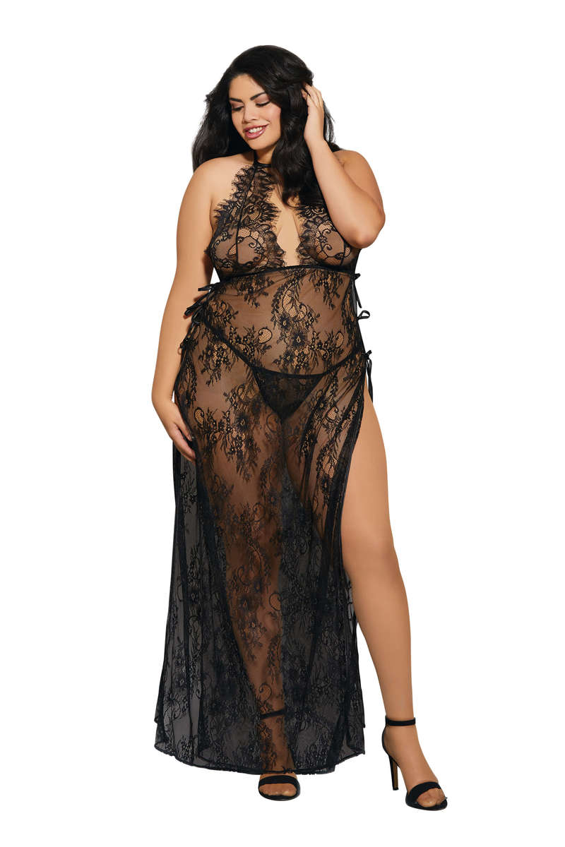 Plus Size Delicate Lace Toga Style Gown