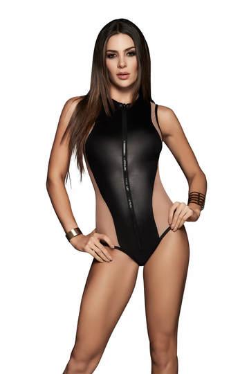 Sheer Mesh Panel Side Wet Look Bodysuit