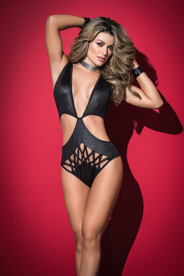 Criss Cross Wet Look Bodysuit