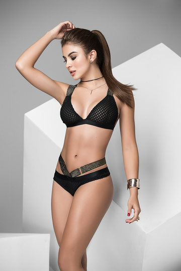 Sheer Mesh Triangle Top & Thong Lingerie Set