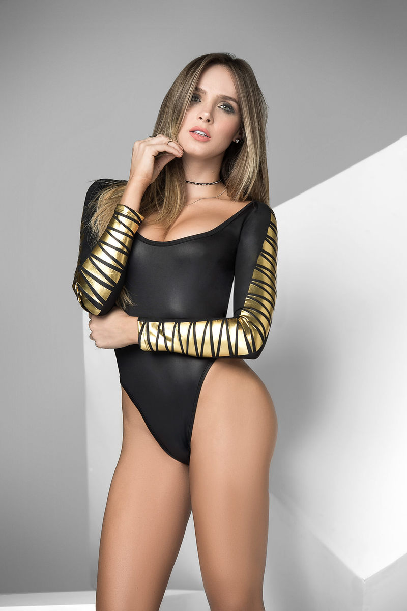 Gold Geometric Print Bodysuit