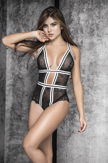 Striped Elastic Lace Boydsuit