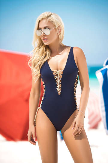 Lace Up Classic One Piece Swimsuit