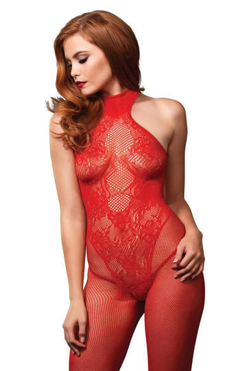 Seamless Fishnet Lace Overlay Bodystocking