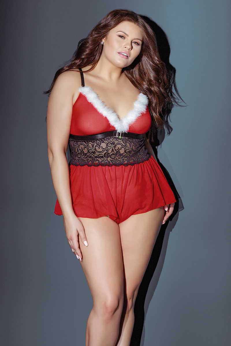 3e6e5b321d1 Miss Holiday Crotchless Plus Size Teddy - Foxy Lingerie