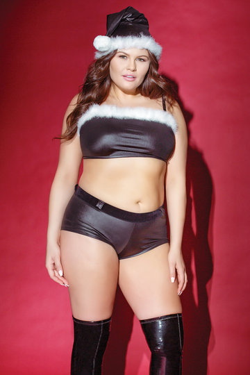Darque Christmas Plus Size Top & Booty Short Set