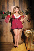 Christmas Spirit Plus Size Babydoll & G-String