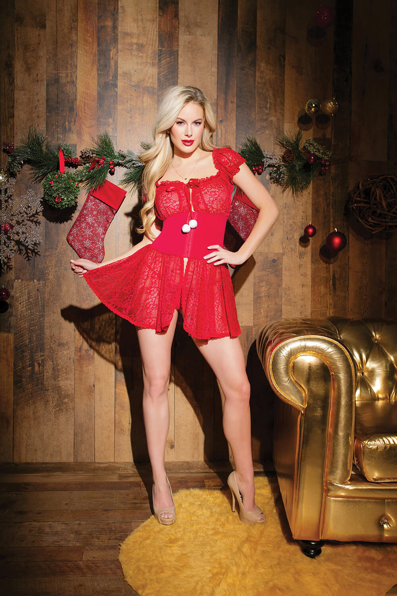 Stretch Lace Holiday Babydoll & G-String