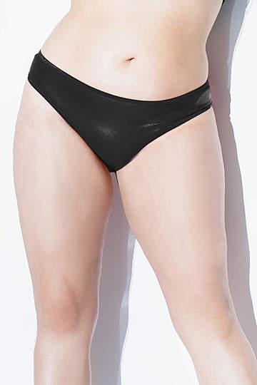 Plus Size Matte Wet Look Thong