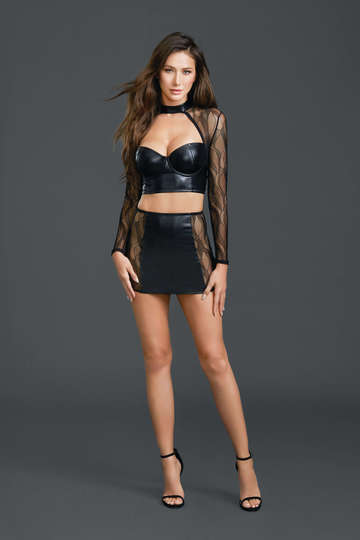 Stretch Leather Lace Crop Top & Skirt Set