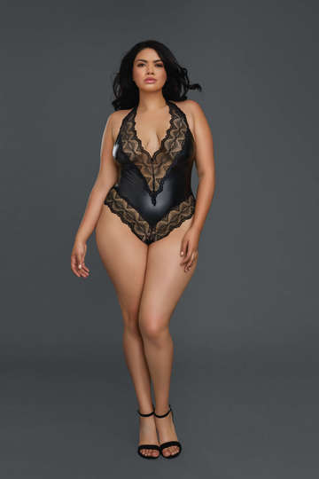 Plus Size Extreme Lace Leather Teddy
