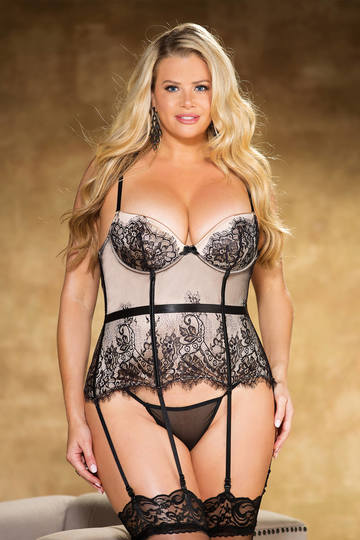 Beautiful Eyelash Lace & Spandex Plus Size Bustier